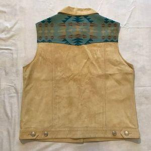 Pendelton suede vest with blanket yoke